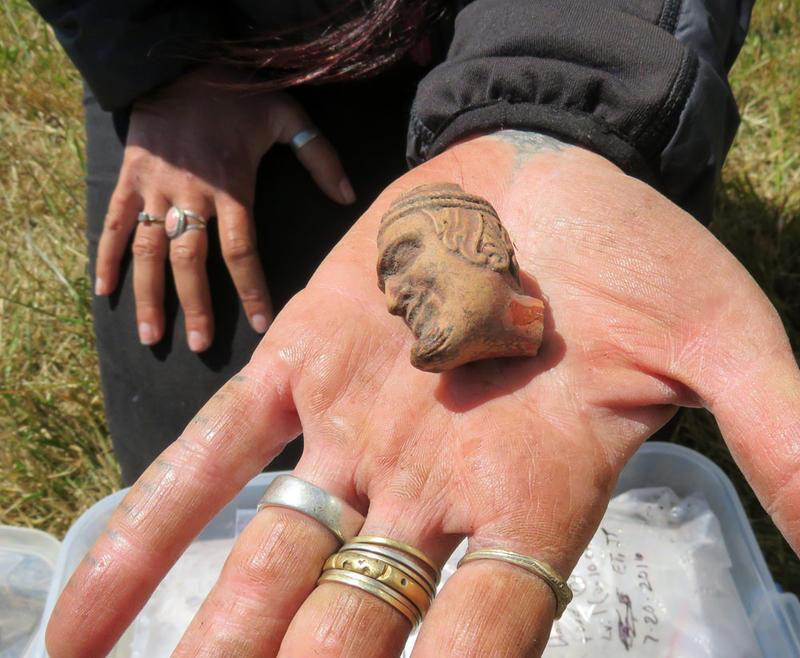 The Miner's Fort dig produced several pipe bowls, including this mysterious depiction of a demonic gentleman's head.