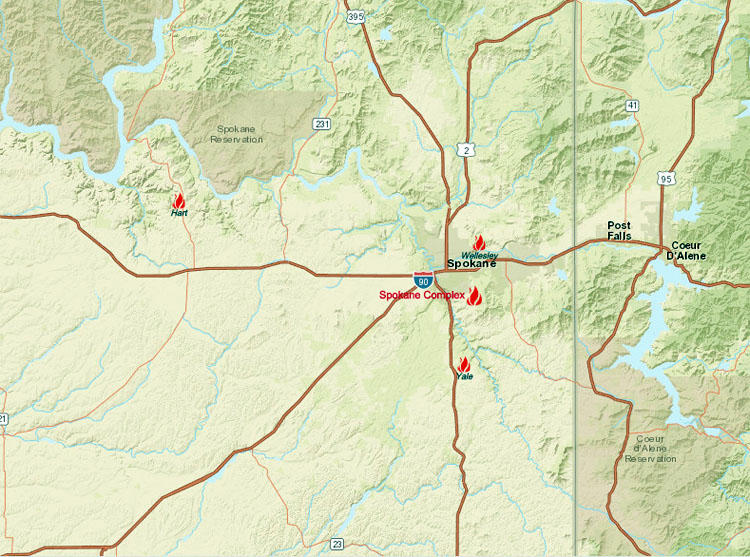 Spokane Wildfire Map.Uncontrolled Wildfire Surrounds Spokane Nw News Network