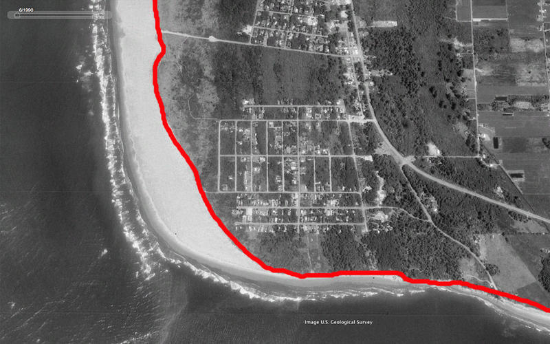 Washaway Beach shoreline in 1990