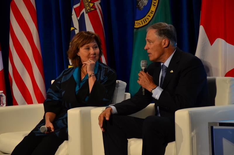 British Columbia Premier Christy Clark and Washington Governor Jay Inslee speaking at the Emerging Cascadia Innovation Corridor Conference.