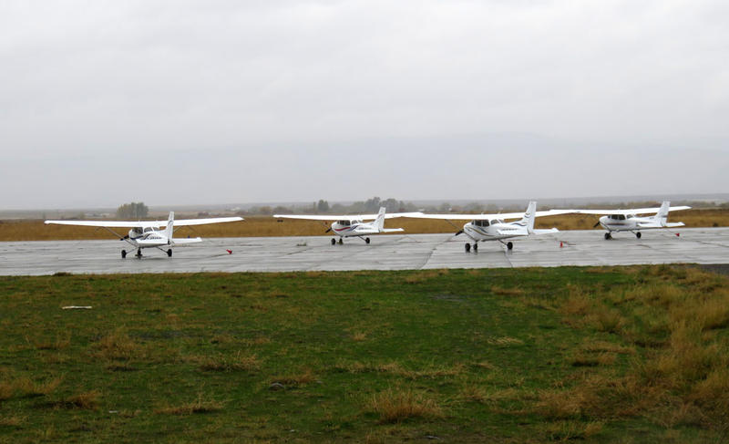 Students in CWU's Aviation Department learn to fly in these Cessna 172s at Ellensburg's Bowers Field.