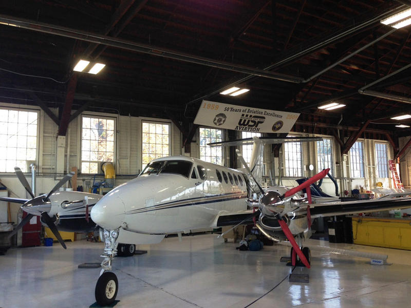 File photo of a Beechcraft King Air B200 turboprop aircraft at the Washington State Patrol aviation facility at the Olympia Airport.