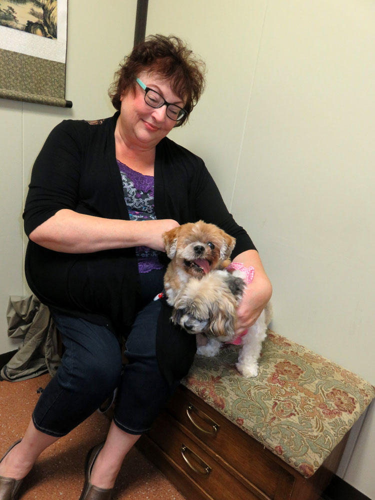 Michelle Batten of Portland gives Canna-Pet capsules to her two aging dogs, Willy and Gracie.