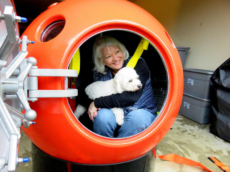 Jeanne Johnson of Ocean Park, Washington, is the first U.S. buyer of a tsunami pod sold by Mukilteo, Washington-based Survival Capsule LLC.