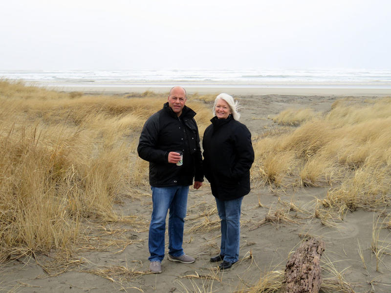 Survival Capsule customer Jeanne Johnson, right, lives three houses in from the dunes and the Pacific Ocean surf on Washington's Long Beach Peninsula. Geologic records show the Cascadia Subduction Zone offshore is capable of generating a massive tsunami.