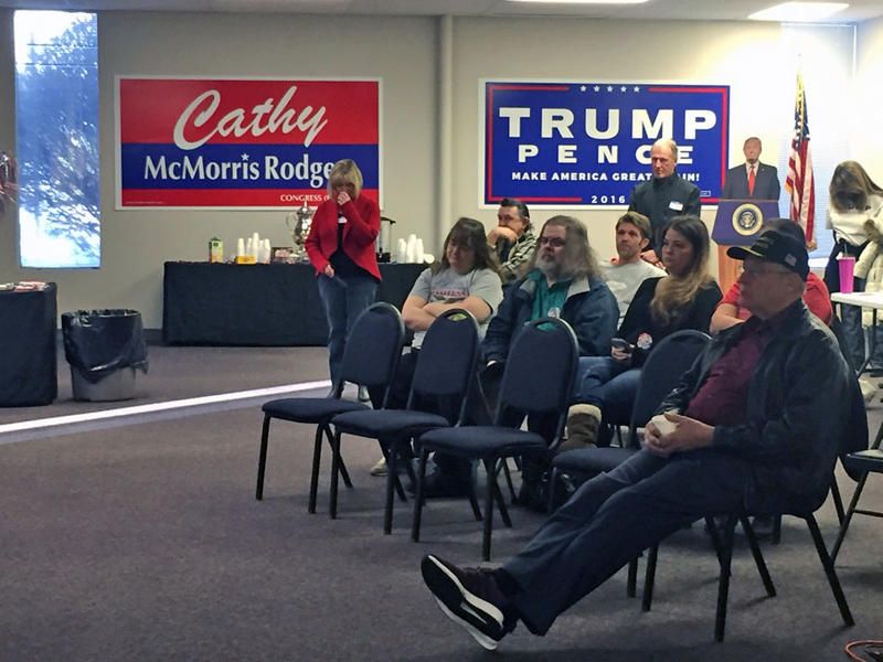 Thirty-five people gathered at the headquarters of the Spokane County Republicans to watch the inauguration of President Donald Trump Friday morning.