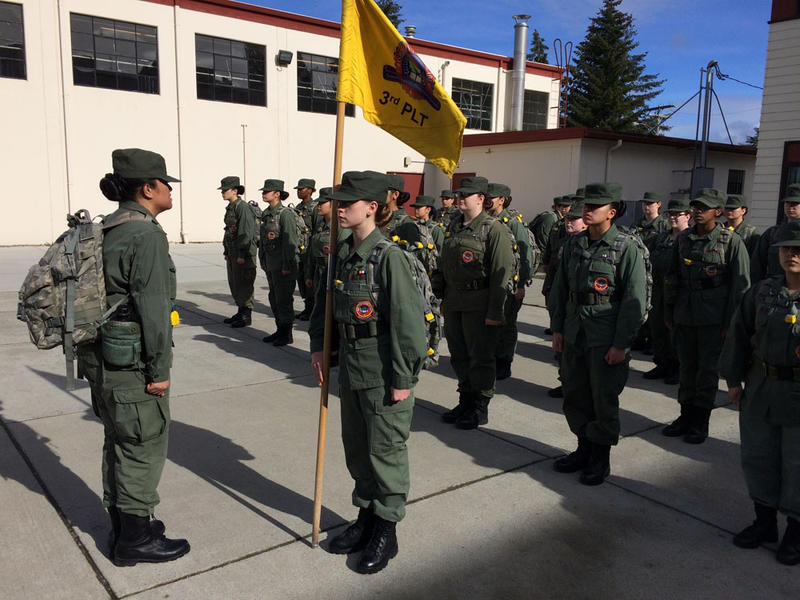 The only female platoon at the Washington Youth Academy, called The Eagles, stands at the ready waiting for orders after lunch.