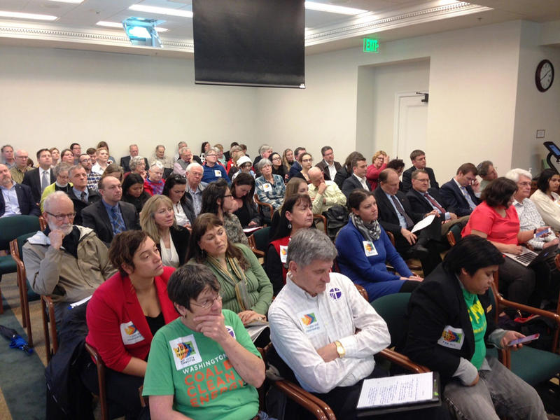A public hearing on a carbon tax proposal in the Washington Legislature drew a large crowd Tuesday in Olympia.