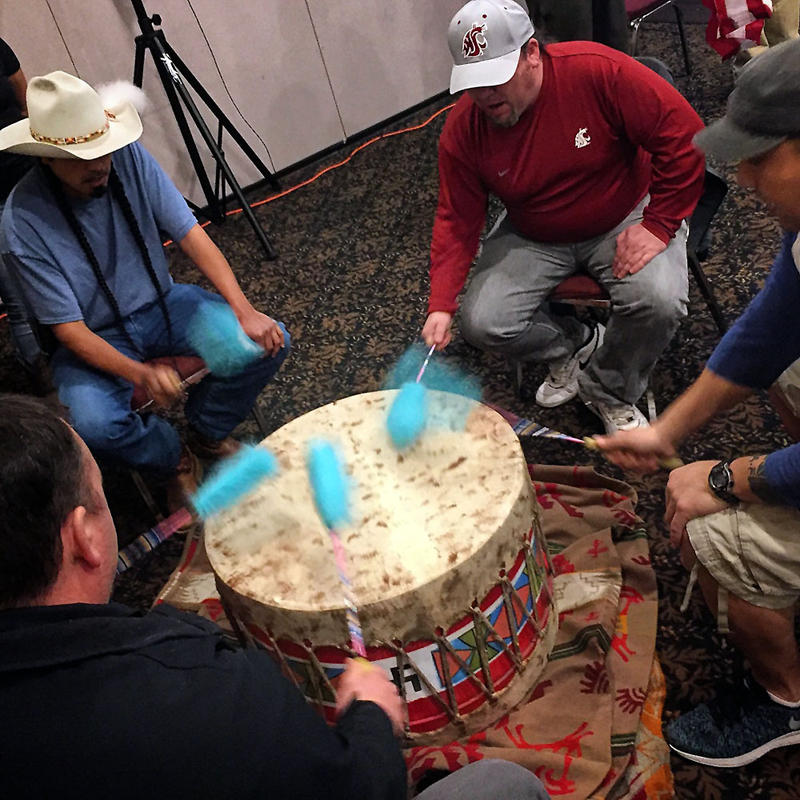 Lightning Creek drum group opened the two-day conference on treaty rights and the environment in Lewiston, Idaho.