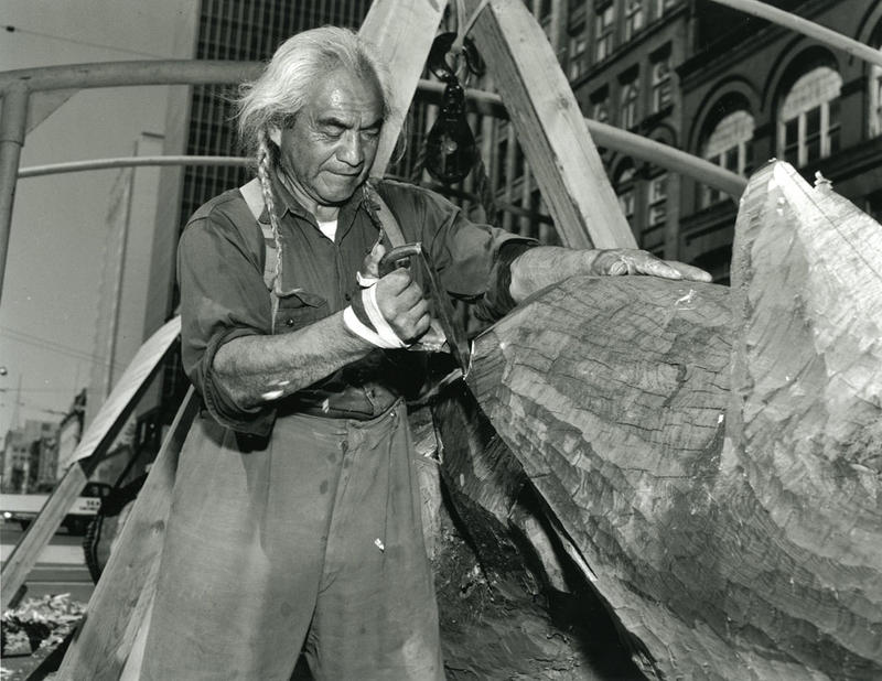 Lummi Nation artist Joe Hillaire carved the totem pole destined for Kobe in 1961 in Seattle's Pioneer Square.
