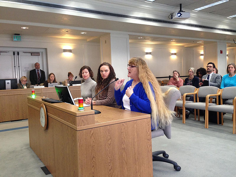 Paula Harwood testifies in favor of a bill to require notification to police and victims when a felon, fugitive or other prohibited gun buyer tries to buy a gun and fails a background check.