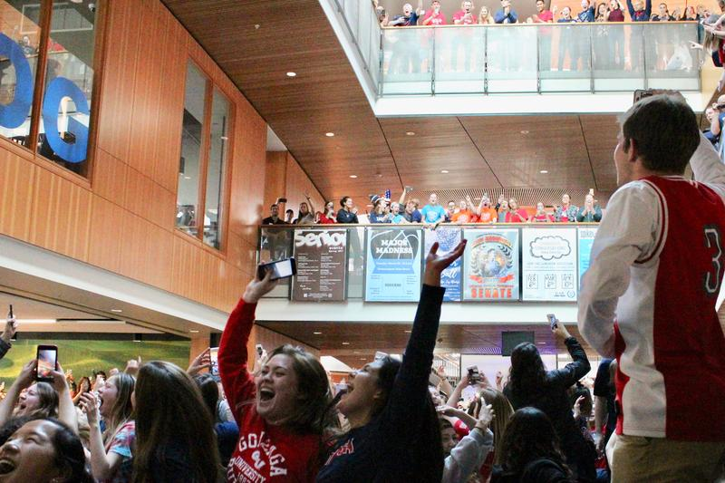 Gonzaga students captured their elation Saturday at the Hemmingson Center in Spokane as the Bulldogs men's basketball team advanced to the Final Four for the first time.