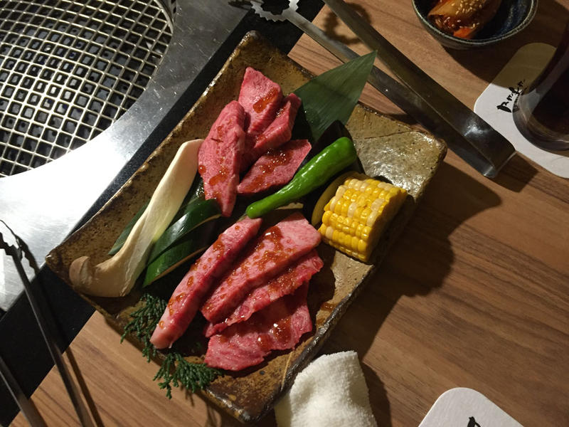 Kobe beef as presented for guests to grill at their tables in a yakiniku restaurant in Kobe, Japan.