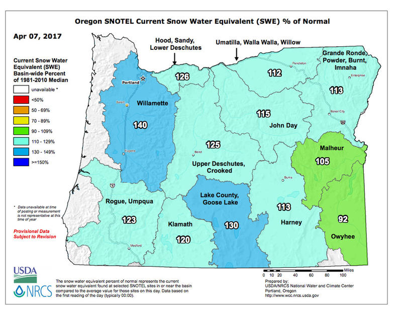 This map shows the snow water equivalent percentage of normal in river basins across Oregon.