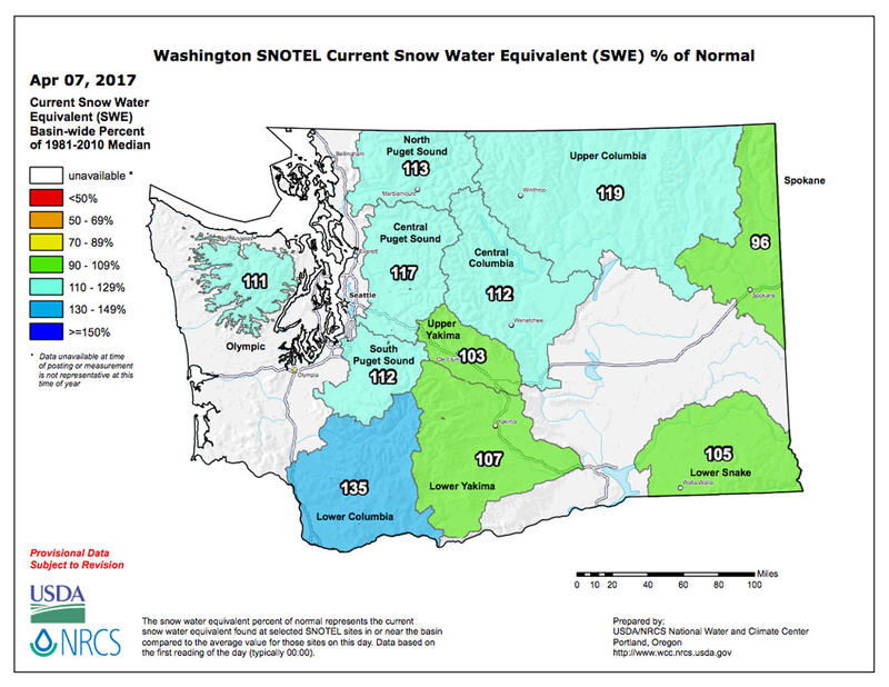 This map shows the snow water equivalent percentage of normal in river basins across Washington.