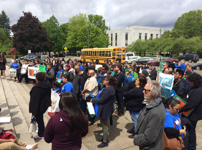 Supporters of a proposal that would cover the medical costs of all Oregon children rallied at the Oregon capitol Friday.
