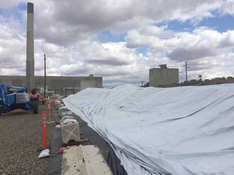 A thick tarp covers the collapsed tunnel structure at the Hanford nuclear site.