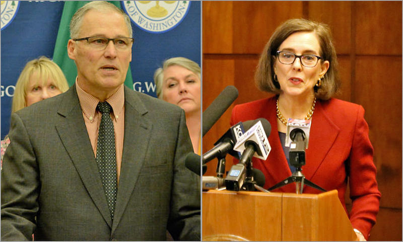 File photo of Washington Gov. Jay Inslee, left, and Oregon Gov. Kate Brown