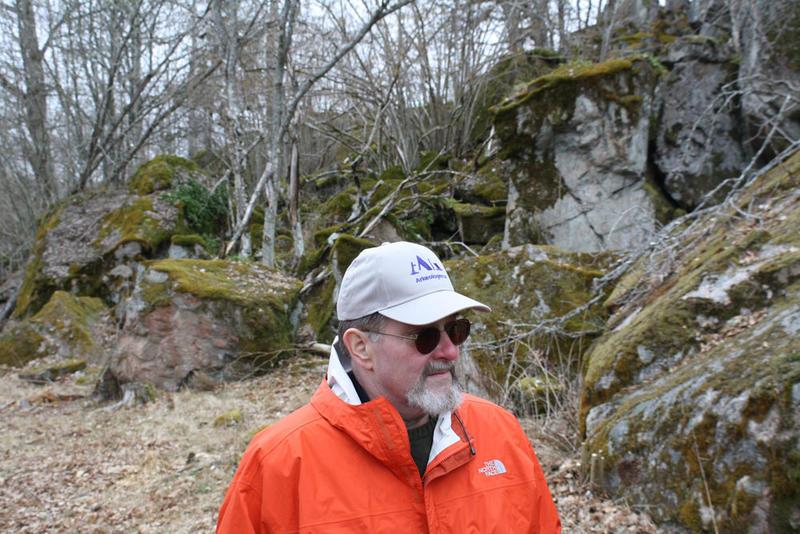 Albert Kruger surveys part of an ancient fort at Brobrog, Sweden.