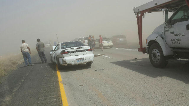 File photo. A dust storm in 2015 near Ritzville, Washington, closed Highway 395 and Interstate 90.
