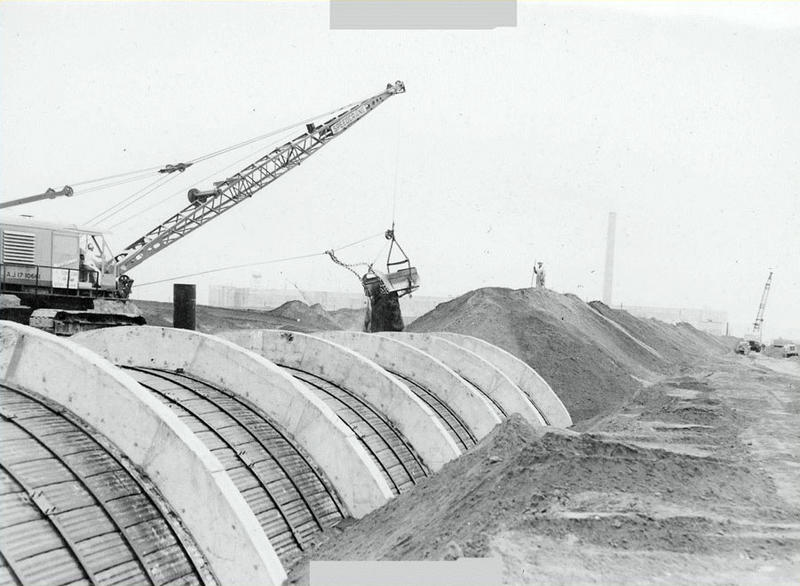 File photo of PUREX Tunnel 2 during construction. A U.S. Department of Energy report says both both Tunnel 2 and Tunnel 1 are in danger of further collapse.