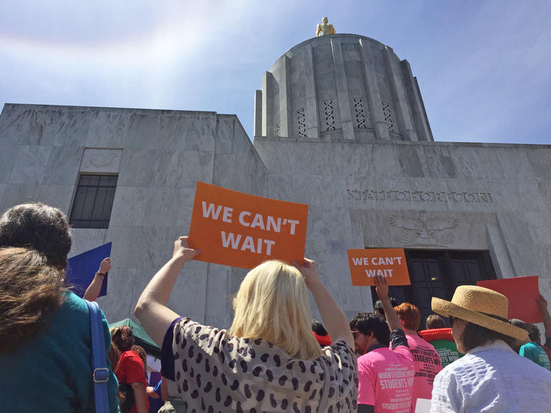 Hundreds gathered on the steps of the Oregon Capitol Tuesday.