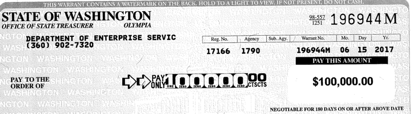 An image of a check issued by the state of Washington, which was sanctioned for failing to turn over evidence in a civil court case.