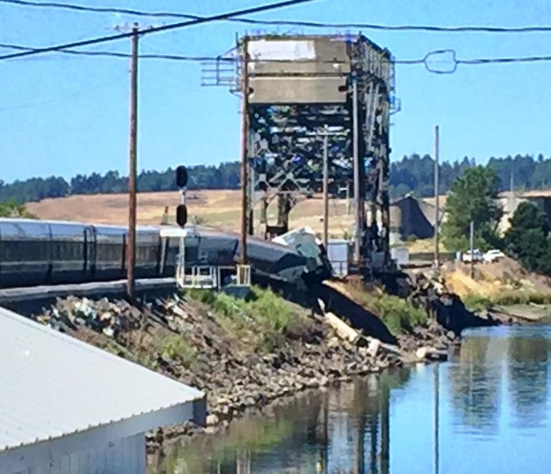 Passenger Greg Carlson took this photo after evacuating a derailed Amtrak Cascades train at Chambers Bay near Steilacoom on Sunday afternoon.