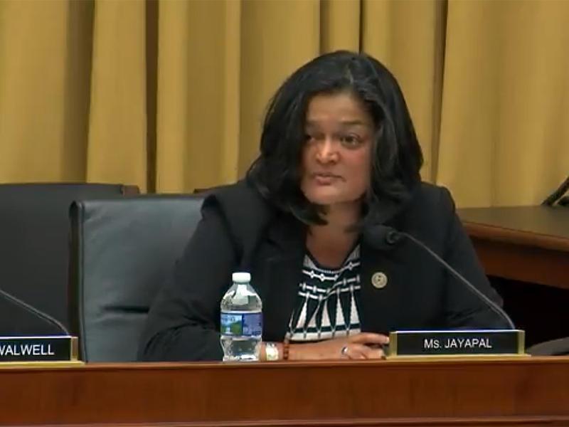 U.S. Rep. Pramila Jayapal of Seattle speaks at a House Judiciary Subcommittee hearing on July 25, 2017.