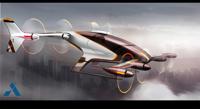 Rendering of battery-powered personal commuter aircraft under development by Airbus.