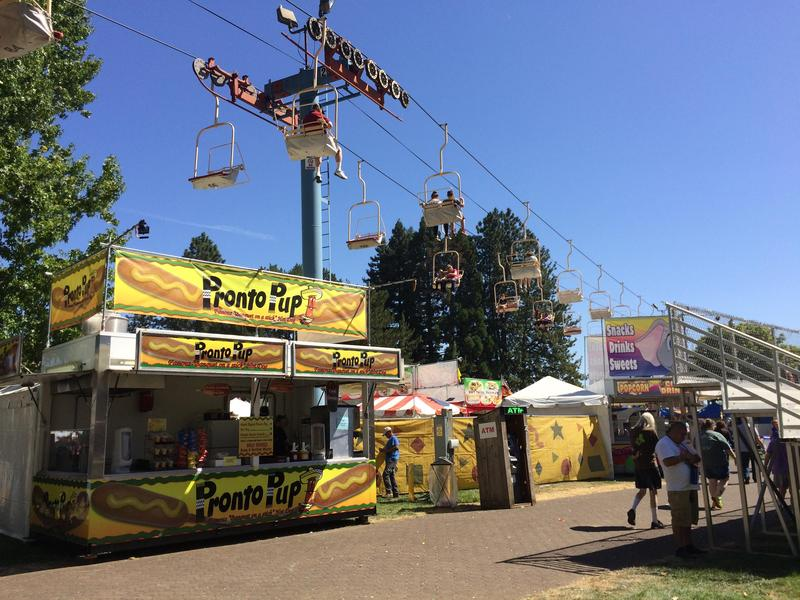 The chairlift is one of many rides that beckon visitors to the Oregon State Fair in Salem.