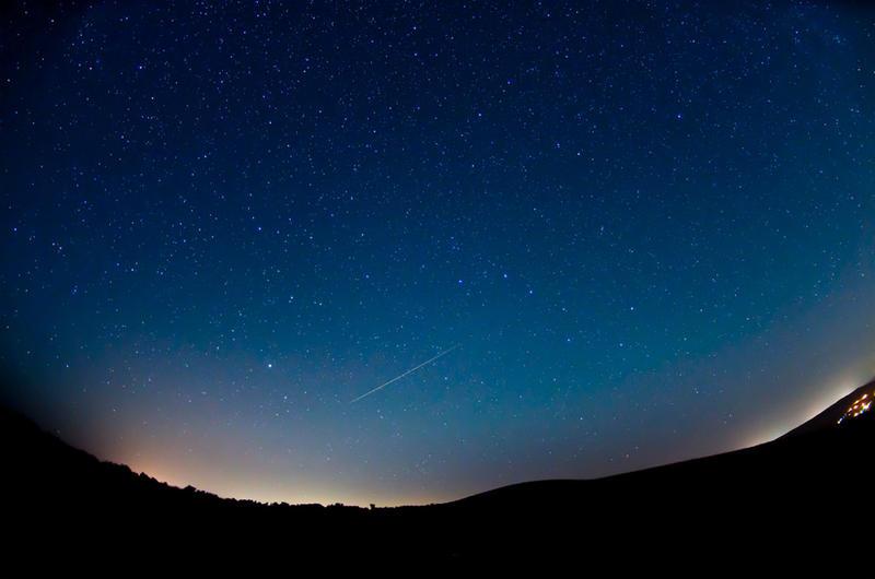 Perseid meteor observed from Horseheaven Hills near Benton City, Washington, in 2012.