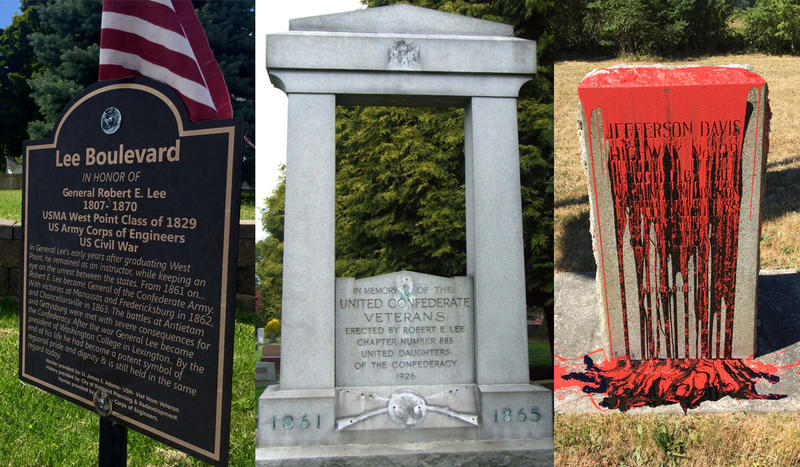 A plaque in Richland, a monument in Seattle and a highway marker near Ridgefield are three memorials that honor Confederates in the Washington state. The center photo depicts a vandalized mural with bronze decorations removed in 2007.