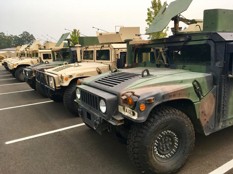 National Guard Humvees were staged at Camp Murray near Tacoma, Washington, on Wednesday prior to deployment with soldiers activated to assist at the Jolly Mountain Fire.