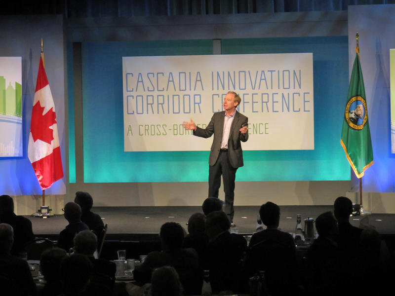 Microsoft President and Chief Legal Officer Brad Smith delivered the opening keynote address to the Cascadia Innovation Corridor Conference in Seattle Tuesday.