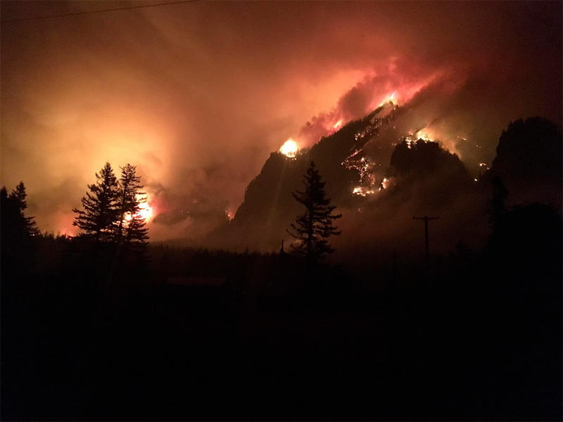 The Eagle Creek fire is burning 10,000 acres in the Columbia River Gorge near Cascade Locks, Oregon.