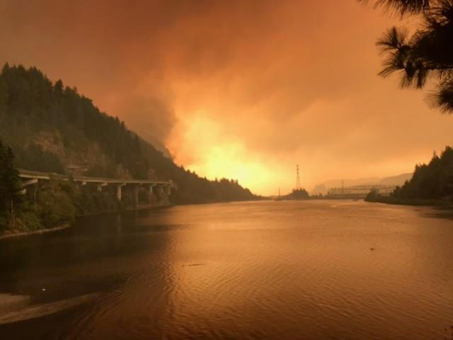 The Eagle Creek fire is burning in the Columbia River Gorge National Scenic Area near Cascade Locks, Oregon.