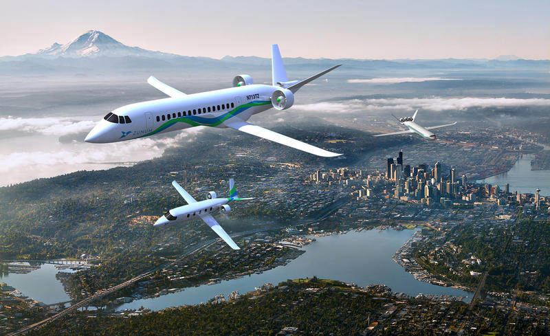 The family of electric aircraft Zunum envisions building includes the 12-seat launch model, lower left, a 30-50 seat regional jet and a 100-seat airliner, right rear.