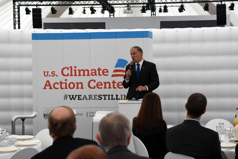 Washington Gov. Jay Inslee attended an international climate conference in Bonn, Germany.