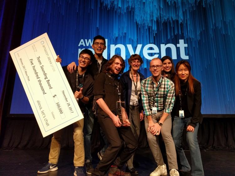 Team Sounding Board from the University of Washington has won Amazon's inaugural Alexa Prize. From left: Hao Fang, Hao Cheng, Ari Holtzman, Mari Ostendorf, Maarten Sap, Elizabeth Clark, Yejin Choi
