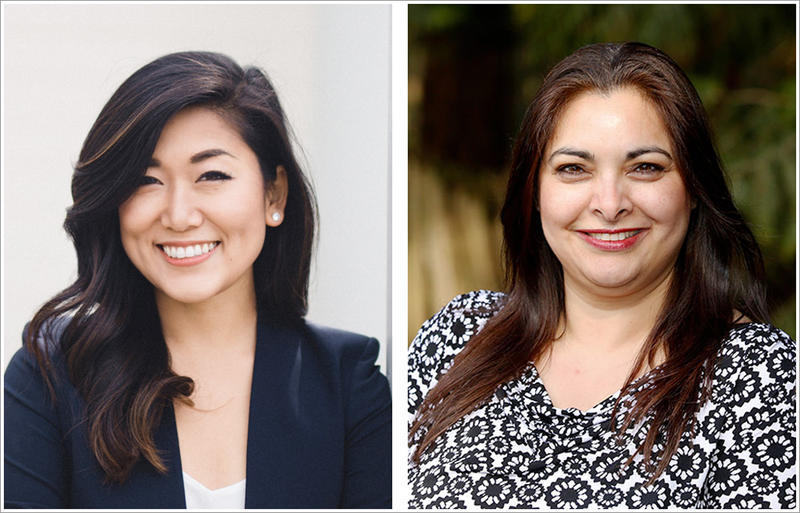 Republican Jinyoung Lee Englund, left,  and Democrat Manka Dhingra, right, are vying for the 45th legislative district Senate seat. Dhingra leads in early results.