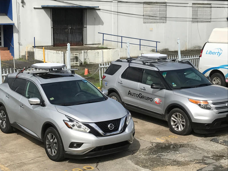 Kymeta satellite internet antennas seen mounted on SUVs which are currently on a Wi-Fi tour to provide connectivity to Puerto Ricans still recovering from Hurricane Maria.