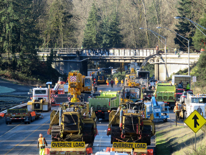 Two lanes of SB I-5 in DuPont will reopen at about 5 p.m. Wednesday