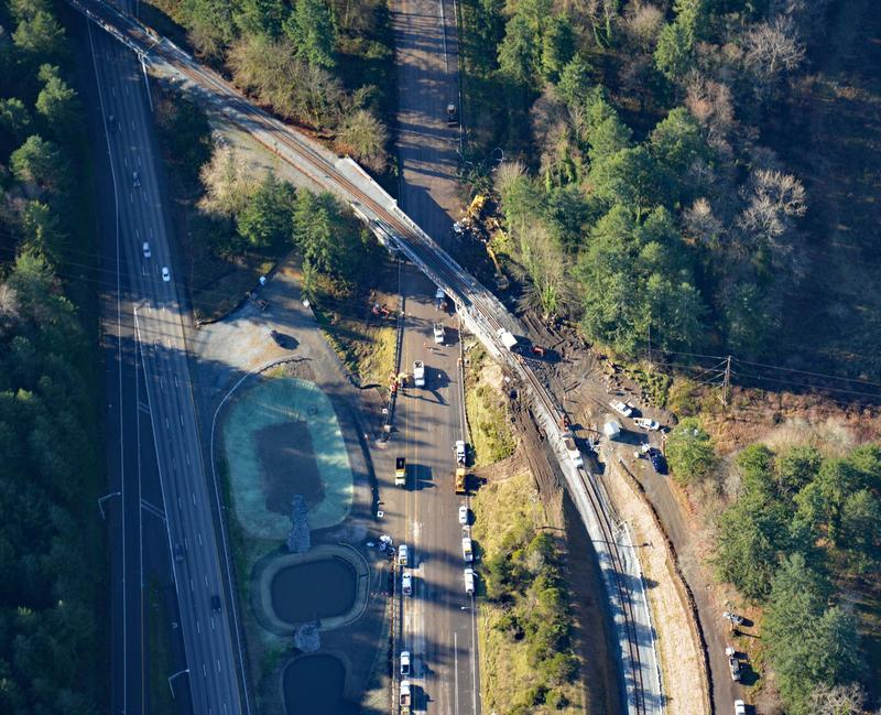 Aerial view of curve on Point Defiance Bypass two days after the Amtrak Train 501 derailment as highway crews were finishing the cleanup.