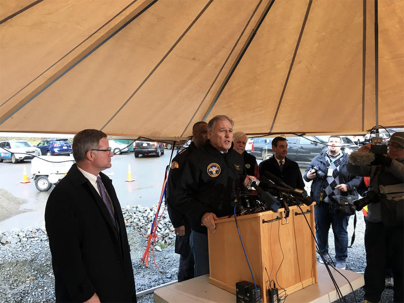 Washington Gov. Jay Inslee speaks at a briefing at the Incident Command Center for Monday's Amtrak derailment.