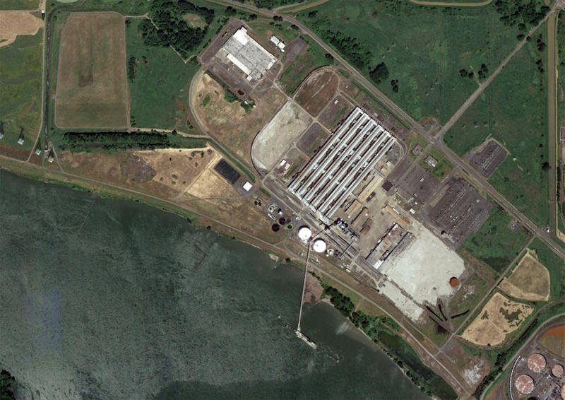 An aerial view of the proposed coal terminal in Longview, Washington. It is on a former aluminum smelter site.
