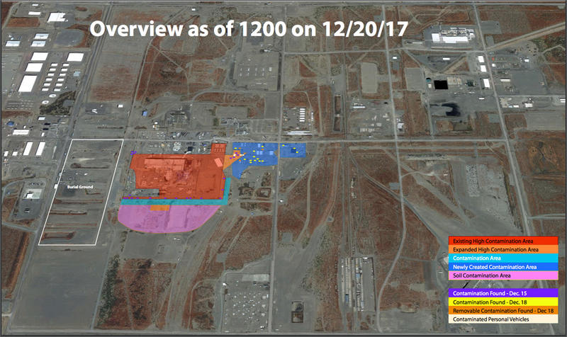This map shows the extent of radioactive contamination near the Plutonium FInishing Plant at Hanford.
