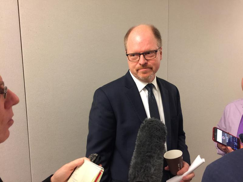 House Republican Leader Dan Kristiansen speaks with reporters after revealing that he was sexually harassed at the state Capitol more than a decade ago.