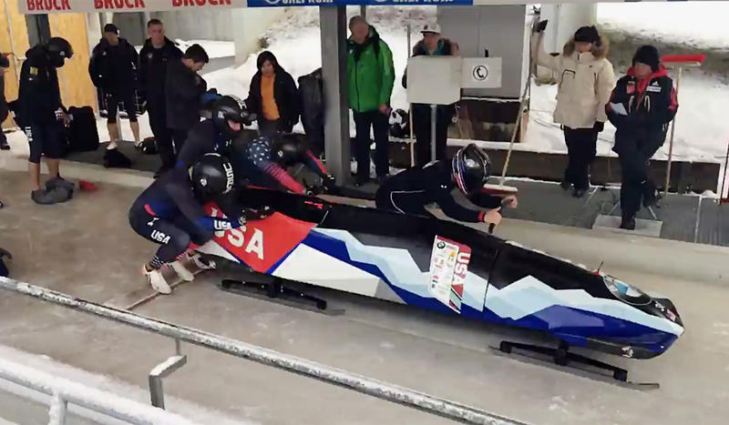 Sam Michener of Gresham, Oregon, a pusher and brakeman for the U.S. National Bobsled Team, hopes to be named to the U.S. Olympic Bobsled Team.