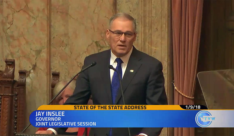 Washington Gov. Jay Inslee delivered his State of the State address to a joint session of the Legislature Tuesday.